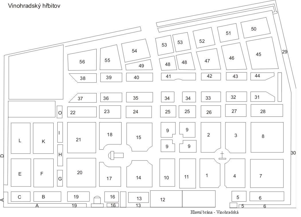 Mapa Vinohradsky Hrbitov Mapa